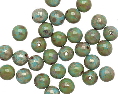Czech Glass Turquoise Picasso Round Druk 6mm