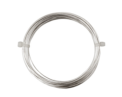 German Style Wire Silver (plated) Round 20 gauge, 6 meters
