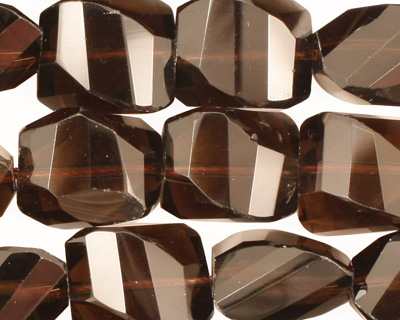 Smoky Quartz Faceted Twisted Nugget 14-16x12-14mm