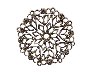 Stampt Antique Pewter (plated) Poinsettia Filigree 28mm