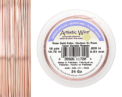 Artistic Wire Silver Plated Rose Gold 24 gauge, 15 yards
