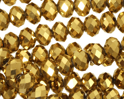 Metallic Antique Gold Crystal Faceted Rondelle 8mm