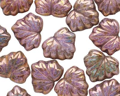 Czech Glass Bronzed Wisteria Maple Leaf 10x13mm