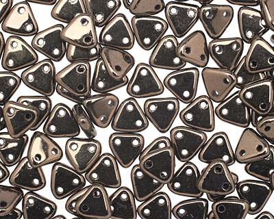 CzechMates Glass Dark Bronze 2-Hole Triangle 6mm
