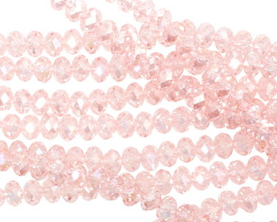 Light Rose AB Crystal Faceted Rondelle 4mm