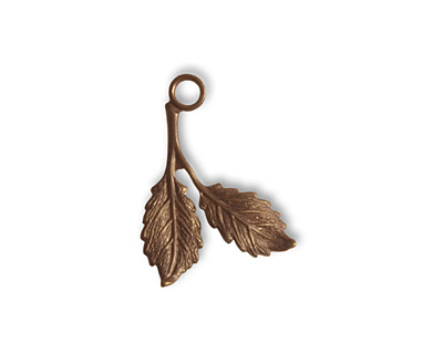 Vintaj Natural Brass Beech Leaf Charm 19x16mm