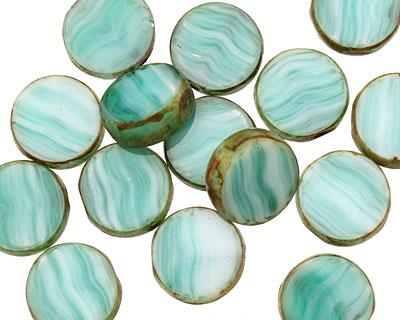 Czech Glass Beach Glass Picasso Coin 10mm