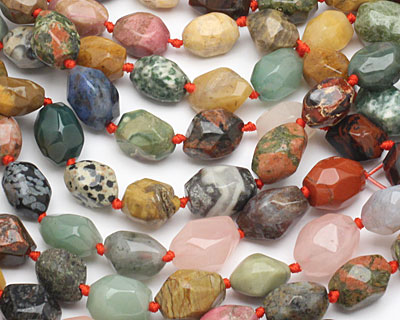 Multi Gemstone (Red Jasper, Rose Quartz, Picture Jasper, Aventurine...) Faceted Nugget 14-16x11-13mm