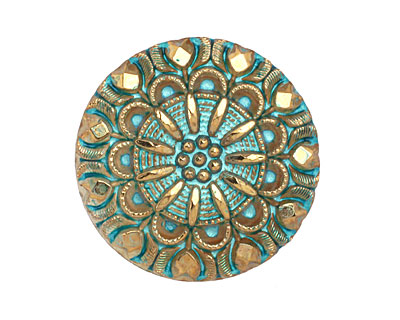 Czech Glass Turquoise w/ Metallic Gold Lace Button 27mm