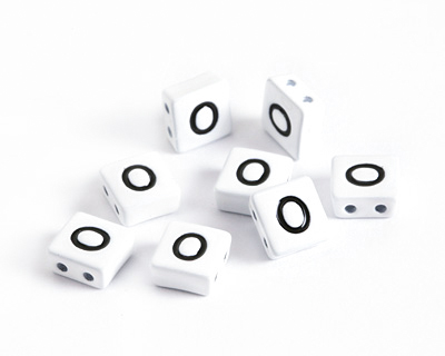 White Enamel 2-Hole Tile Square Bead w/ Letter