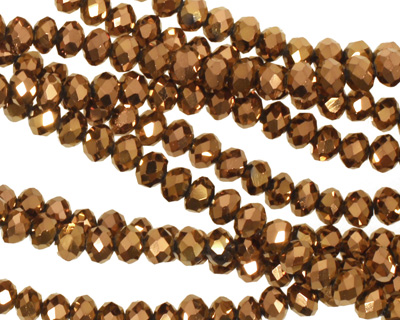Metallic Antique Bronze Crystal Faceted Rondelle 4mm