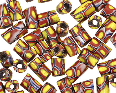 African Trade Bead (red, yellow w/ blue) Barrel 8-11x6-7mm