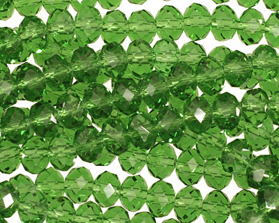 Grass Green Crystal Faceted Rondelle 6mm