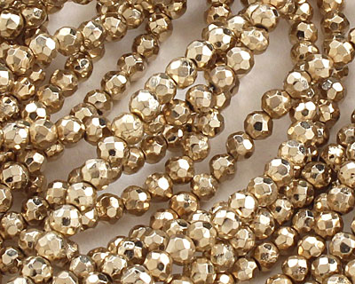 Golden Pyrite Faceted Round 3.5-4mm