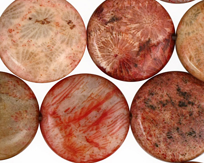 Fossil Jasper (rose) Puff Coin 20mm