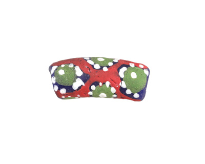 African Handpainted in Red/Green/White on Cobalt Powder Glass (Krobo) Bead 18-24x10-11mm