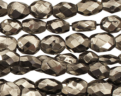 Golden Pyrite (silver tone) Irregular Faceted Flat Oval 10-11x7-8mm