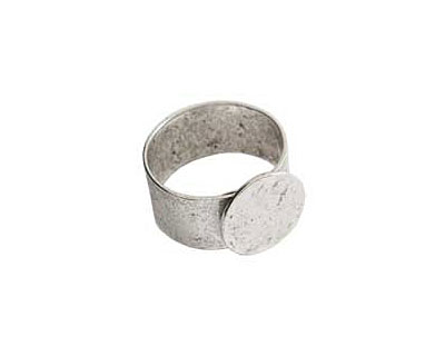 Nunn Design Antique Silver (plated) Small Circle Adjustable Ring 13mm