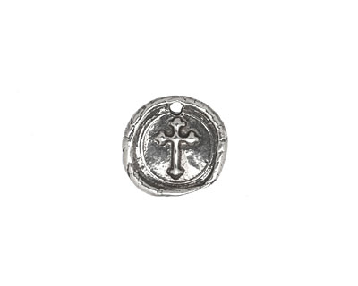 Rustic Charms Sterling Silver Little Cross Seal Charm 13mm