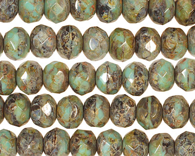 Czech Glass Mint Chocolate Chip Picasso Fire Polished Rondelle 6x9mm