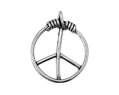 Rustic Charms Sterling Silver Large Peace Pendant 22x27mm