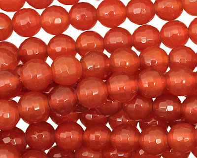 Carnelian Micro-Faceted Round 6mm