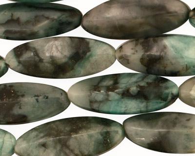 Emerald (rough cut) Ridged Oval 25x10mm
