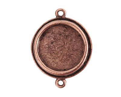 Nunn Design Antique Copper (plated) Traditional Circle Bezel Pendant Link 29x23mm