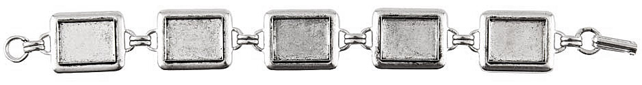 Nunn Design Antique Silver (plated) Large Rectangle Bezel Bracelet 16x12mm