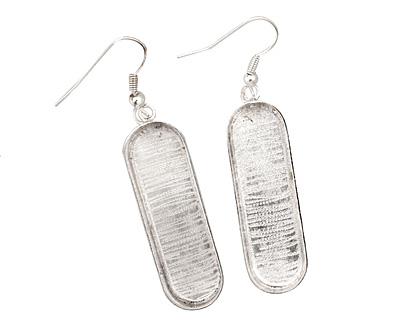 Silver (plated) Oval Bezel Earrings 11x36mm