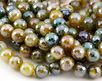 Forest Line Agate w/ Silver Luster Faceted Round 10mm