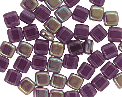 CzechMates Glass Tanzanite Celsian 2-Hole Tile 6mm