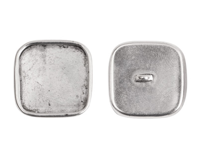 Nunn Design Antique Silver (plated) Large Square Frame Button 18mm