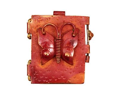 Patricia Healey Copper Butterfly Locket 40x44mm