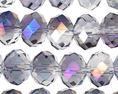 Purple & Clear AB Crystal Faceted Rondelle 14mm
