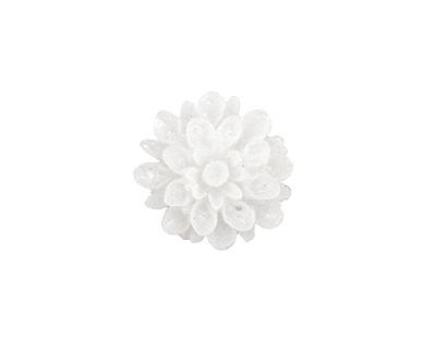 Transparent White Lucite Dahlia Flower Cabochon 16mm