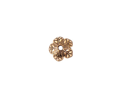 Nunn Design Antique Gold (plated) 8mm Etched Daisy Bead Cap 4x9mm