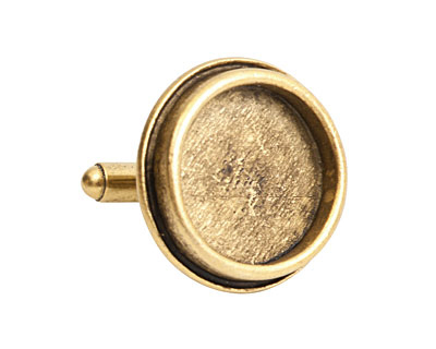 Nunn Design Antique Gold (plated) Traditional Circle Bezel Cuff Link 22mm