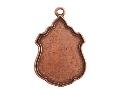 Nunn Design Antique Copper (plated) Ornate Flat Ensign Tag 20x31mm