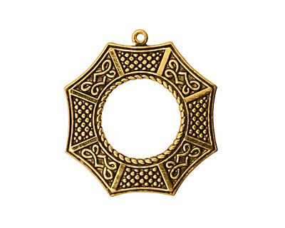 Stampt Antique Gold (plated) Bagua Pendant 24x26mm
