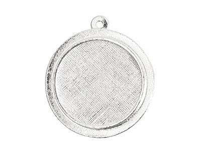 Nunn Design Sterling Silver (plated) Raised Circle Pendant 26x29mm