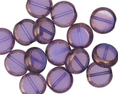 Czech Glass Gladiola w/ Copper Edge Coin 10mm