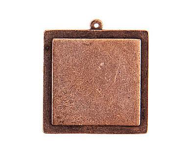 Nunn Design Antique Copper (plated) Raised Tag Grande Square Pendant 38x42mm