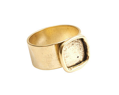 Nunn Design Antique Gold (plated) Small Square Frame Adjustable Ring 13mm