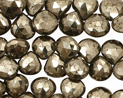 INACTIVE Golden Pyrite (silver tone) Faceted Flat Teardrop 9-10mm