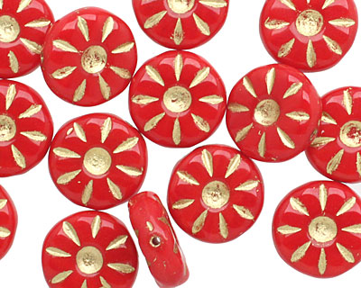 Czech Glass Red Apple Gilded Gold Daisy Coin 12mm