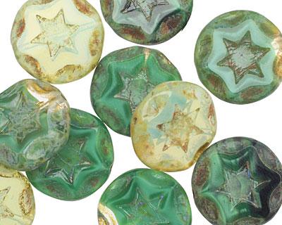 Czech Glass Pine Forest Starflower Coin w/ Scalloped Edge 15mm
