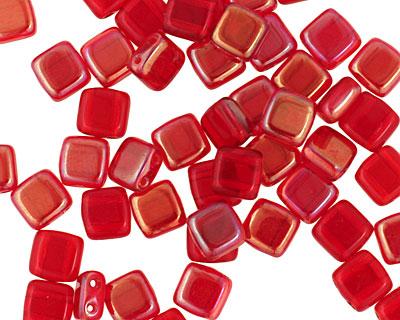 CzechMates Glass Celsian Siam Ruby 2-Hole Tile 6mm