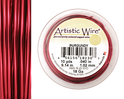 Artistic Wire Burgundy 18 gauge, 10 yards