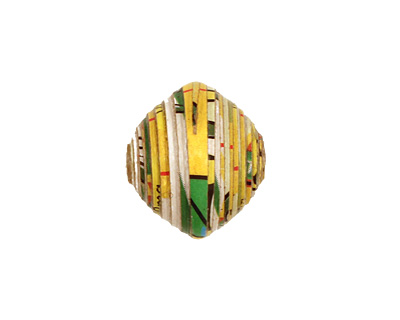 African Paper (yellow, green, black) Bicone 14-15x15-16mm